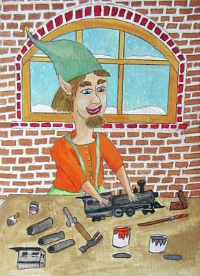 Lionle The Train Maker Elf Original by Gordon Wendling