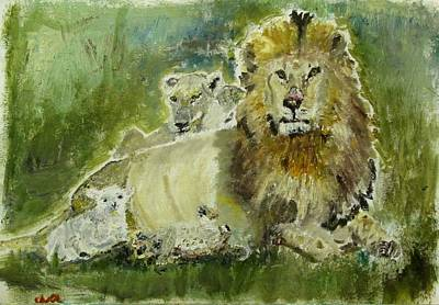 Lion And Lamb Painting - Lions And Lambs by Julien Radoff