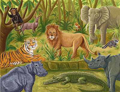 The Tiger Painting - Lions And Tigers And Hippos And More -  From The Infinite Song By Andrea Freeman  by Andrea Freeman