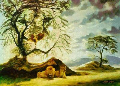 Male Painting - Lions At Break - Pa by Leonardo Digenio