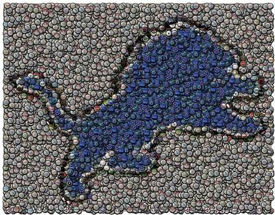 Bottlecaps Digital Art - Lions Bottle Cap Mosaic by Paul Van Scott
