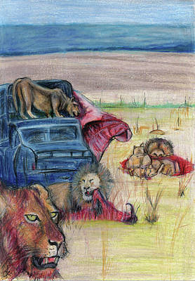 African Big Cats Drawing - Lions Feast by Corlia Chameleon