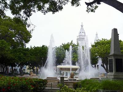 Photograph - Lions Fountain Wide by Walter Rivera Santos