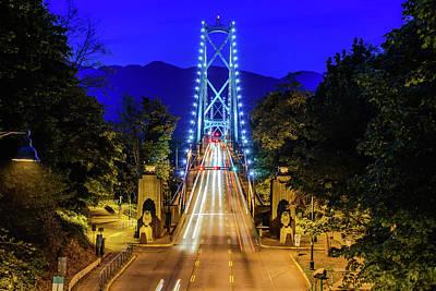Photograph - Lions Gate Bridge At Night by Debbie Ann Powell