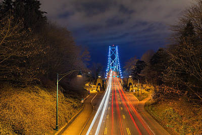 Lions Gate Bridge Light Trails Art Print by David Gn