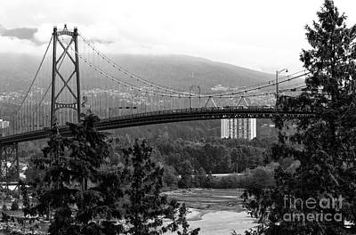 Photograph - Lions Gate Bridge Mono by John Rizzuto