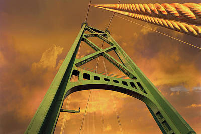 Sky Photograph - Lions Gate Bridge Tower by David Gn