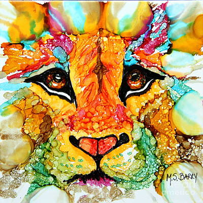 Painting - Lion's Head Gold by Maria Barry