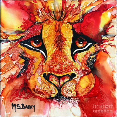 Painting - Lion's Head  Red by Maria Barry