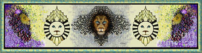 Digital Art - Lions In A Row II by Carol Jacobs