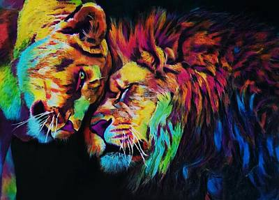 Painting - Lions In Love by Mandy Thomas