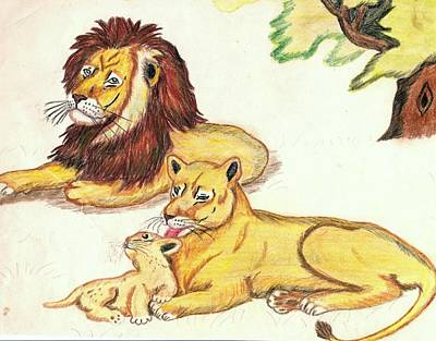 Lions Of The Tree Art Print