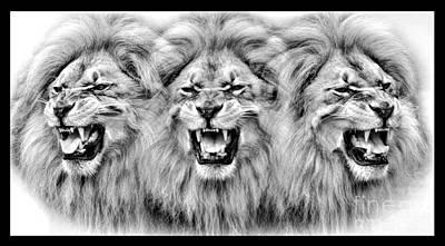 Digital Art - Lions Roar IIi by Jim Fitzpatrick