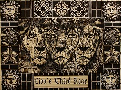 Drawing - Lion's Third Roar by Michael Kulick