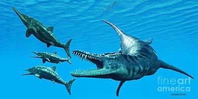 Titans Painting - Liopleurodon Attacks Ichthyosaurus by Corey Ford