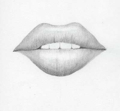Drawing - Lip Study by Tamyra Crossley