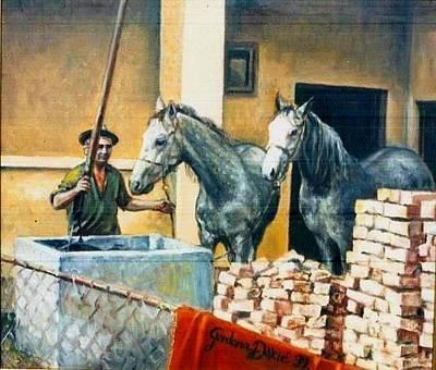 Gordana Dokic Segedin Drawings Painting - Lipizzaner Horses On The Cistern by Gordana Dokic Segedin