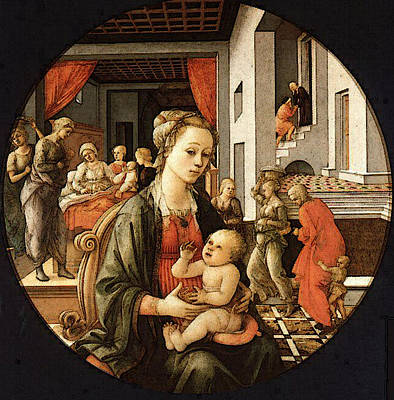Lippi Fra Filippo Virgin With The Child And Scenes From The Life Of St Anne Art Print