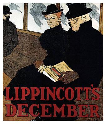Mixed Media - Lippincott's Magazine - December - Magazine Cover - Vintage Art Nouveau Poster by Studio Grafiikka