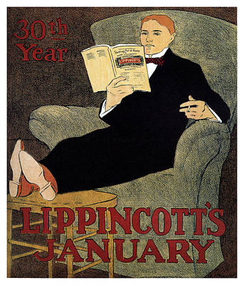 Royalty-Free and Rights-Managed Images - Lippincotts Magazine - January - Magazine Cover - Vintage Art Nouveau Poster by Studio Grafiikka