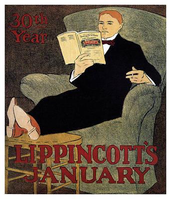 Mixed Media - Lippincott's Magazine - January - Magazine Cover - Vintage Art Nouveau Poster by Studio Grafiikka