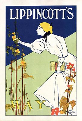 Mixed Media - Lippincott's Magazine - May - Magazine Cover - Vintage Art Nouveau Poster by Studio Grafiikka