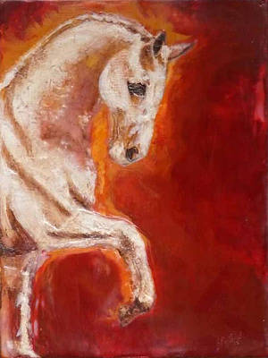 Encaustic Horse Painting - Lippizaner by Gabrielle England