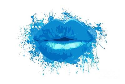Lips Photograph - Lips - Light Blue Watercolour  by Prar Kulasekara