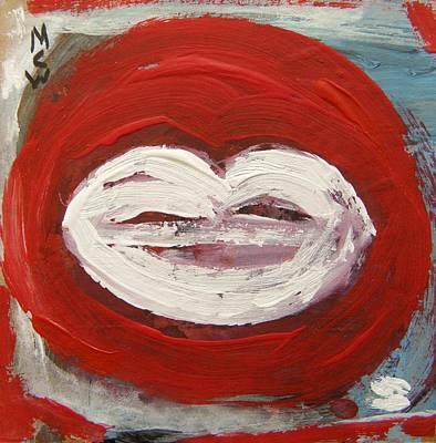 Lips-white Art Print