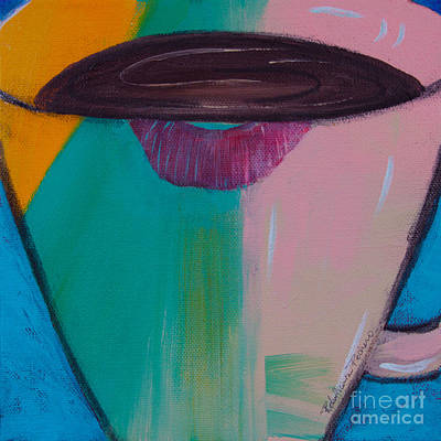 Painting - Lipstick On Coffee Cup by Robin Maria Pedrero