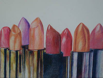 Lipstick Drawing - Lipsticks by Anna Mize Bell
