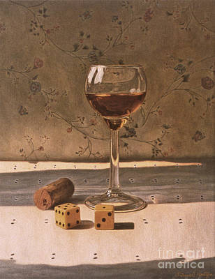Painting - Liqueur Glass And Pair Of Dice by Daniel Montoya