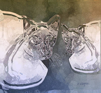 Felines Painting - Liquid Cats by Arline Wagner