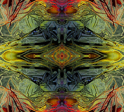 Digital Art - Liquid Decalcomania Mirror by Otto Rapp