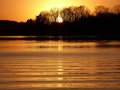 Percy Priest Lake Photograph - Liquid Gold by Theresa  Asher