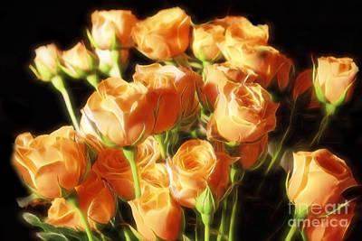 Liquid Golden Roses Original by Linda Phelps