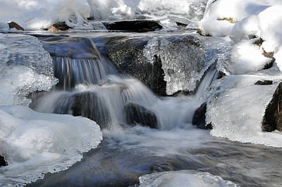 Photograph - Winter Waterfall In Maine by Glenn Gordon