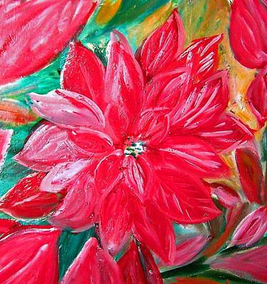 Painting - Liquid Red Hot Red Poinsettia by Patricia Taylor