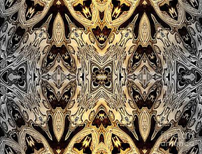 Mixed Media - Liquid Silver And Gold Patterns by Jolanta Anna Karolska