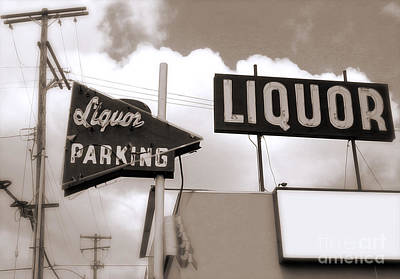 Photograph - Liquor Store Sign by Gregory Dyer