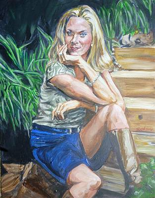 Painting - Lisa On The Garden Steps by Bryan Bustard