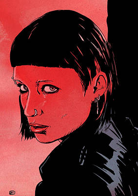 Sweden Drawing - Lisbeth Salander Mara Rooney by Giuseppe Cristiano