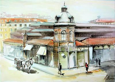 Lisbon - 1916 Praca Da Figueira Market Original by Georgi Charaka