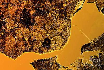 Lisbon Abstract City Map Golden Art Print
