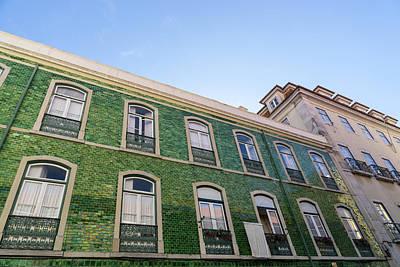 Photograph - Lisbon Architecture - Azulejo Tiles In Iridescent Green by Georgia Mizuleva