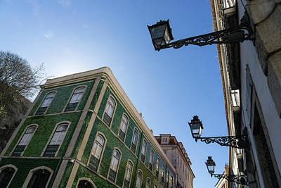 Photograph - Lisbon Architecture - Iridescent Azulejo Tiles And Antique Lanterns by Georgia Mizuleva