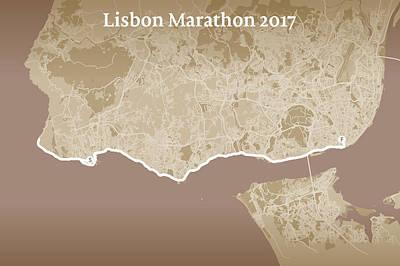 Printed Circuit Digital Art - Lisbon Marathon #1 by Big City Artwork