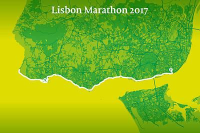 Rock N Roll Digital Art - Lisbon Marathon #2 by Big City Artwork