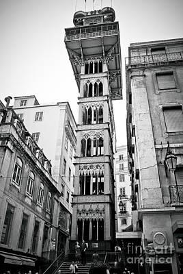 Photograph - Lisbon - Portugal - Elevador De Santa Justa - Black And White by Carlos Alkmin