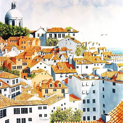 Rooftops Painting - Windows Above Lisbon by Mary Grden Fine Art Oil Painter Baywood Gallery